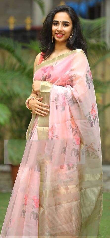 5214c312c7 Light weight organza   sarees   Organza saree, Pink saree silk ...