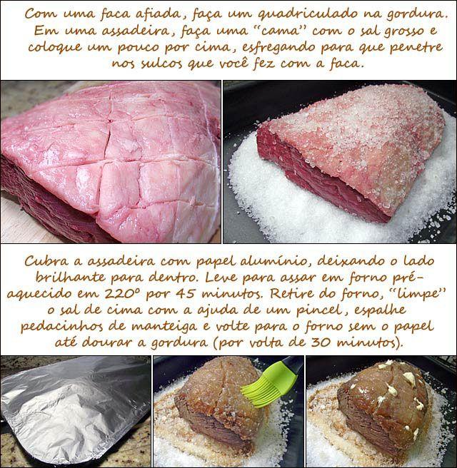 PANELATERAPIA - Blog de Culinária, Gastronomia e Receitas: Picanha ao Forno no Sal Grosso