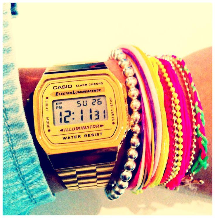 casio, gold watch, bracelet, colors, vintage