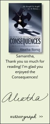 "Authorgraph from Aleatha Romig for ""Consequences"""