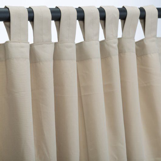 Antique Beige Sunbrella Outdoor Curtains Tab Top $99.99  Designed for heavy use and minimal care, Sunbrella is the most established, best known high -performance outdoor fabrick on the market today, with an unmatched history of quality, durability andproduct attractiveness. A heavy-duty yet lightweight solutio