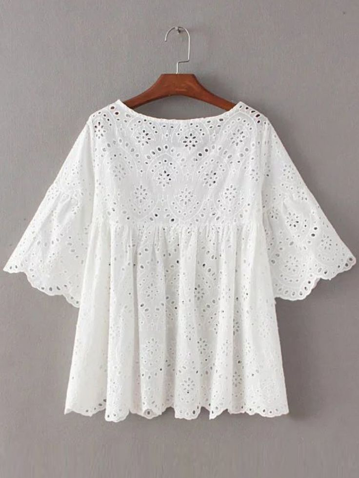 Buy White Bell Sleeve Self Tie Front Scallop Edge Hollow Blouse from abaday.com, FREE shipping Worldwide - Fashion Clothing, Latest Street Fashion At Abaday.com