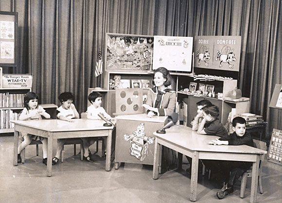 Romper Room with the bee, the magic mirror, those giant balloons on rubber bands and those clown bopper toys!