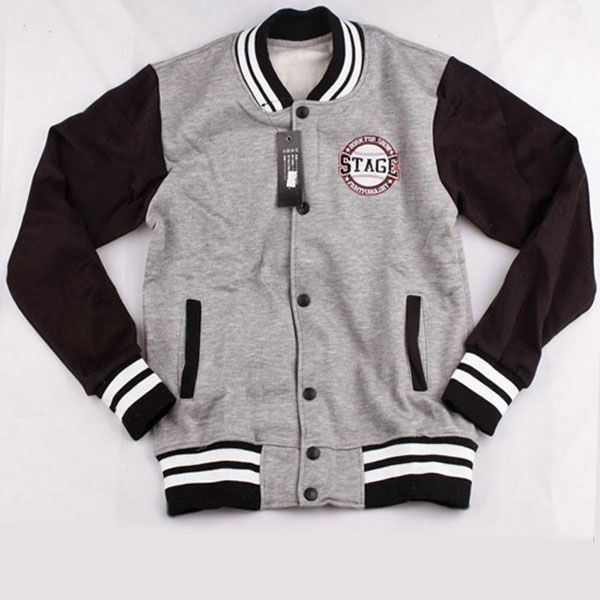 Grey and Black STAGE Baseball Jackets For Men Sale
