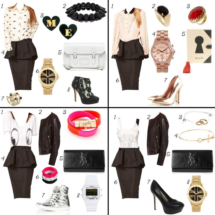Peplum Skirt Outfit | CHOOSE: 1 PEPLUM SKIRT - 4 OUTFITS | TheCabLookTheCabLook