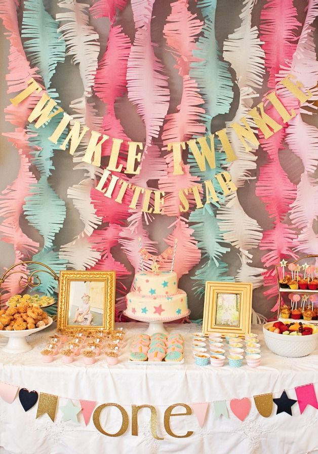 """This """"Twinkle Twinkle Little Star"""" first birthday party is a fabulous way to celebrate your baby turning 1 year old. With pink, coral, and mint decoration ideas, this beautiful birthday bash is every little girl's dream!"""