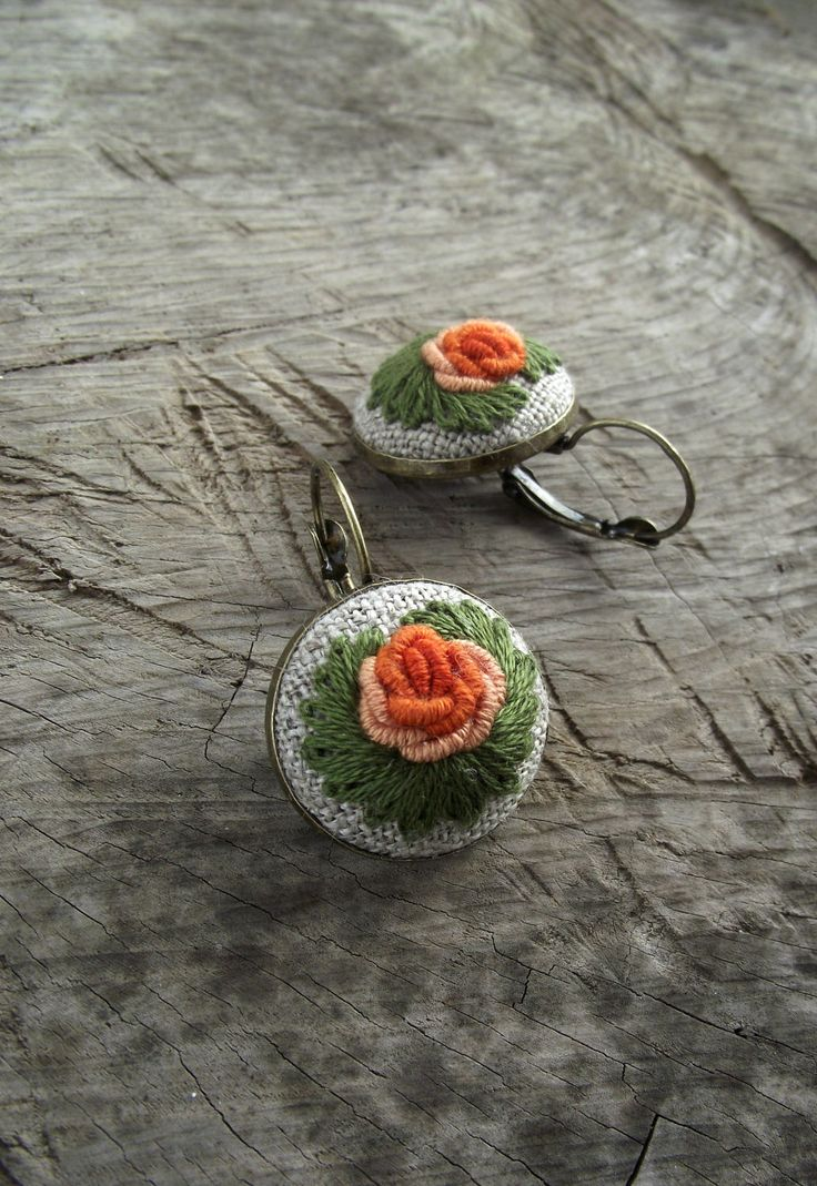 Embroidered earrings with roses, floral earrings, romantic earrings by ZoZulkaart on Etsy