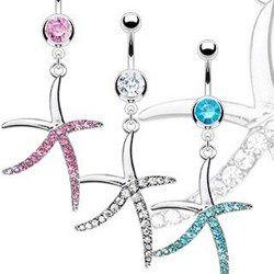Piercing nombril étoile de mer cinqs branches