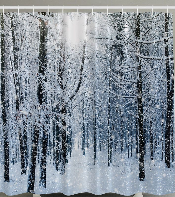 SNOWY FOREST WHITE TREE BRANCHES CHRISTMAS 70  Fabric Bathroom Shower Curtain