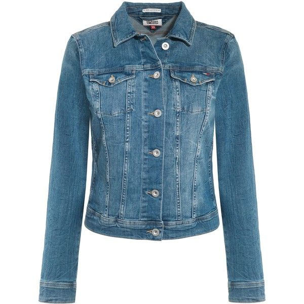 Tommy Hilfiger Vivianne Mermst Jean Jacket found on Polyvore featuring outerwear, jackets, denim, women, tommy hilfiger jacket, tommy hilfiger, collar jacket, long sleeve denim jacket and blue jackets