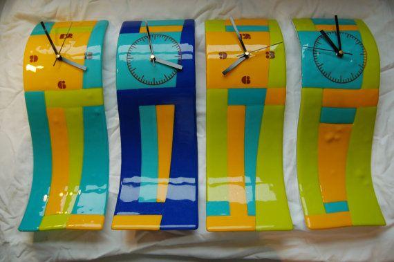 Wave clocks by AndyBullGlassArt on Etsy