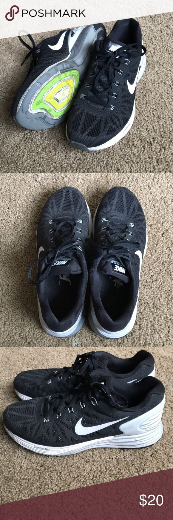 Nike Lunarglide 6 sneakers. Size 6.5 Slightly worn black Nike lunarglide 6 athletic shoes. Size 6.5. Barely worn still great condition!! Just want to get rid of shoes to make more room. Willing to negotiate price :) Nike Shoes Athletic Shoes