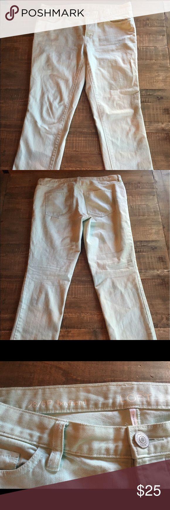 Loft Pale Aqua Jeans Loft Pale Aqua Boyfriend Ankle Length Jean size 6P LOFT Pants Ankle & Cropped