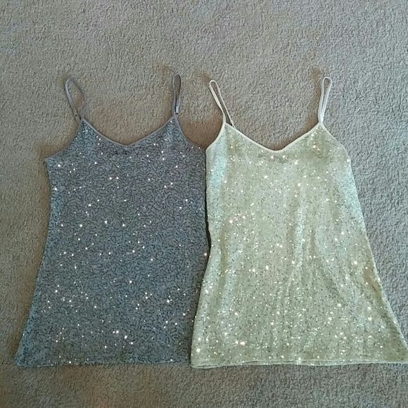 Bundle of 2 cami tops One gold and one silver cami top with sequins. In great condition from smoke free and pet free home. Can fit small or xs. Express Tops Camisoles