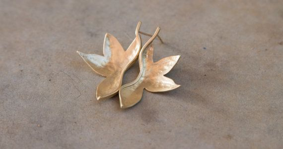 Gold big stud leaf earrings. statement by TamyZurTachshit on Etsy