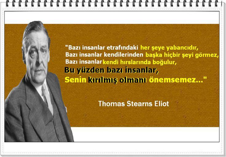 """""""Bazı insanlar etrafındaki her şeye yabancıdır, Bazı insanlar kendilerinden başka hiçbir şeyi görmez, Bazı insanlar kendi hırslarında boğulur, Bu yüzden bazı insanlar, Senin kırılmış olmanı önemsemez..."""" - Thomas Stearns Eliot"""