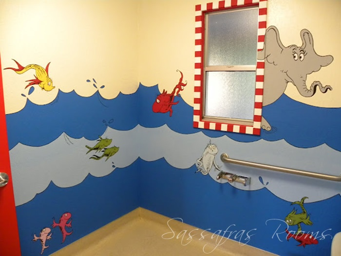 Would be fun in the office around window above Sandy's desk!  Sassafras Rooms: DR SEUSS' CAT IN THE HAT WALL MURAL Dr. Seuss Mural