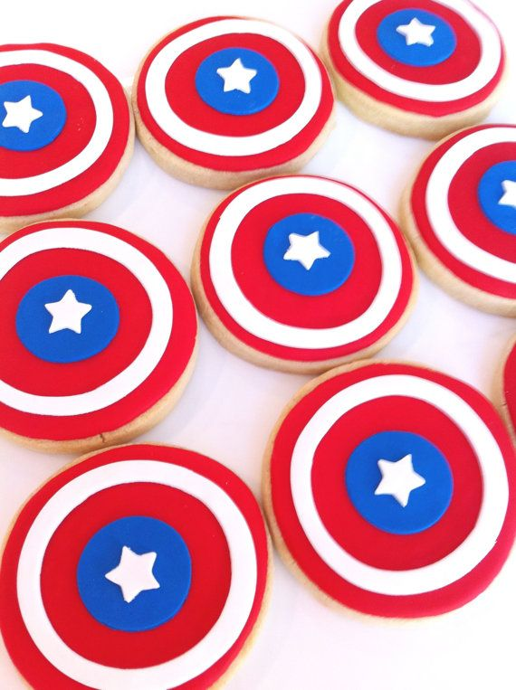 capitaine america bouclier cookie faveurs 1 douzaine. Black Bedroom Furniture Sets. Home Design Ideas