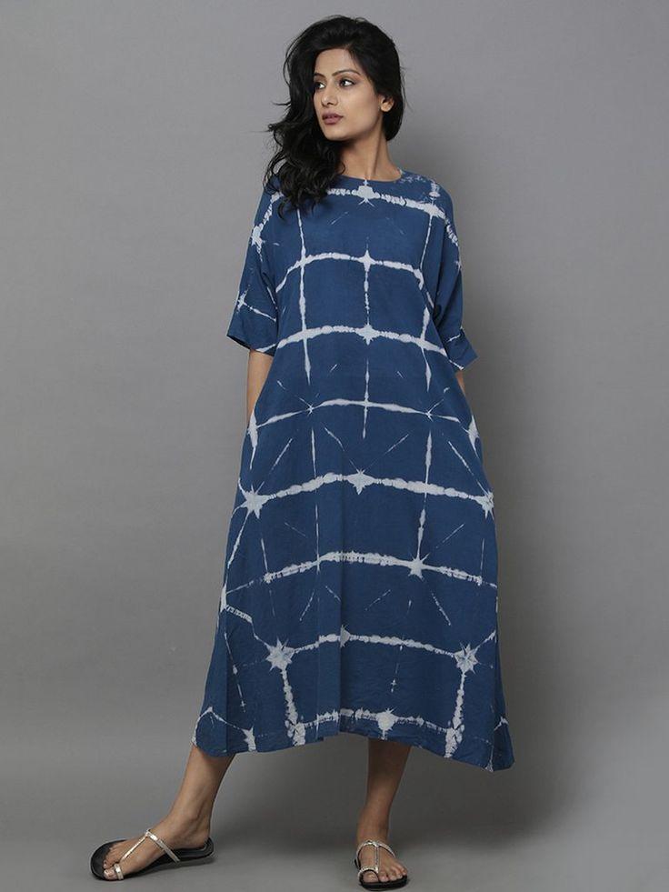 Blue Cotton Shift Dress