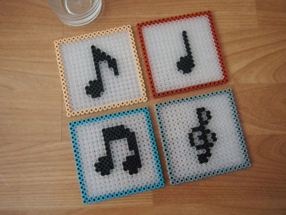 Music coasters. Set of 4. Hama perler 8bit. Perfect gift for music lover or teacher!