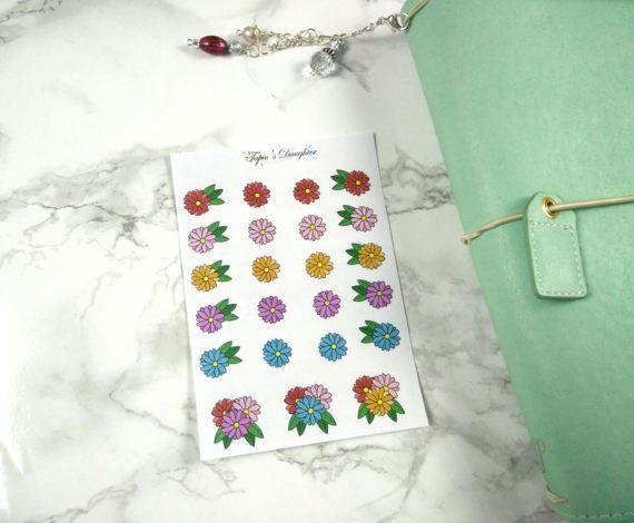 Hand drawn flower stickers for erin condren happy planner