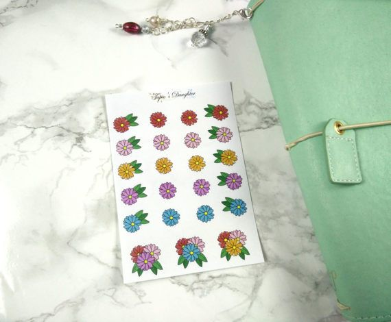 Hand drawn flower stickers for erin condren happy planner