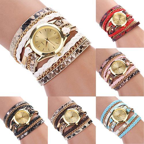 Women's Leopard Wrap Braided Faux Leather Analog Quartz Bracelet Wrist Watch
