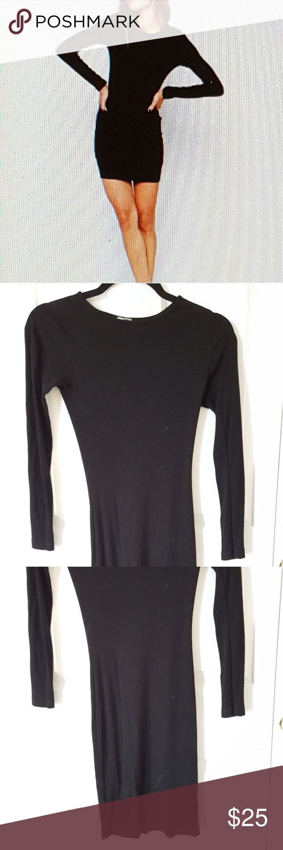 """Mini bodycon dress, ribbed, black, long sleeve This is really chic, sexy, versatile black ribbed bodycon dress. It's a petite mini dress, but I think it would fit average-heighted wearers just fine. Not see-through at all, and doesn't cling to """"problem areas."""" Fits small, medium, 4, and 6. But it's very stretchy! Never worn, only tried on. Asos Dresses Mini"""