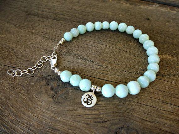 Yoga bracelet Om Chakra bracelet peruvian opal by SoCoolCharms