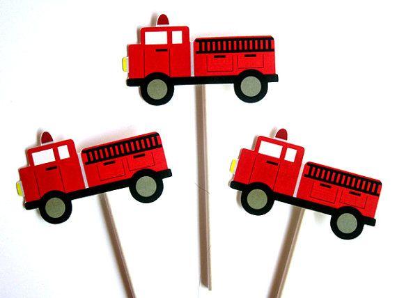 Brandweerwagen Cupcake Toppers Item  82116926