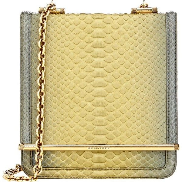 Belstaff Diana B Shoulder Bag ($2,149) ❤ liked on Polyvore featuring bags, handbags, shoulder bags, green, gold handbag, snakeskin purse, military shoulder bag and shoulder handbags