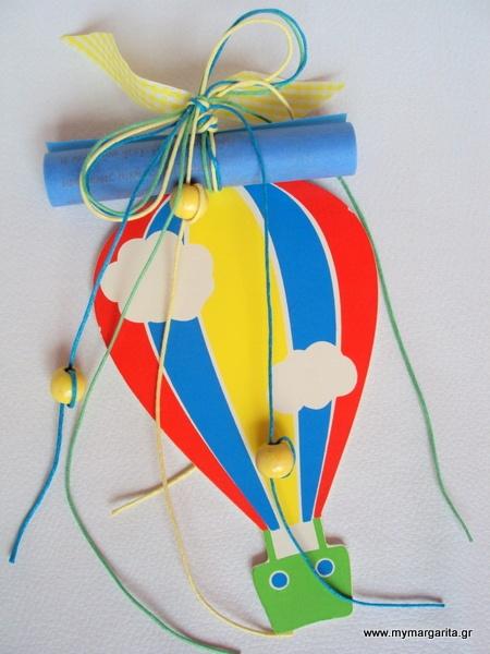 Χειροποίητο προσκλητήριο βάπτισης αγόρι με ξύλινο αερόστατο http://www.vaptistika-margarita.gr/index.php?page=shop.product_details_id=20=flypage.tpl_id=334=com_virtuemart=19=1=19