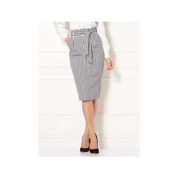Eva Mendes Collection Terez Skirt ($65) ❤ liked on Polyvore featuring skirts, black, pencil skirt, paperbag skirts, striped pencil skirt, knee length pencil skirt and stripe pencil skirt