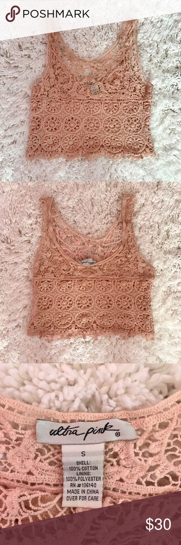 Blush Crochet Top  This all Crochet Crop Top is perfect for summer!  Wear it with a beige bandeau under or throw it over your bathing suit! Blush Light Pink Fits true to size Tops Crop Tops