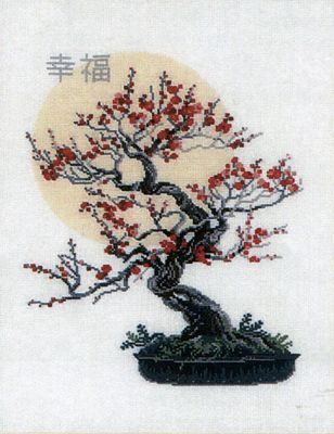 asian cross stitched pictures | oriental bonsai tree with fantastic colour. This counted cross stitch ...