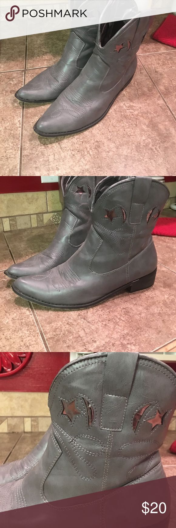 Short cowboy boots Gray ankle cowboy boots....worn but still a lot of life left! Pointy toe boots with silver details (stars and moons) zips on side Shoes Ankle Boots & Booties