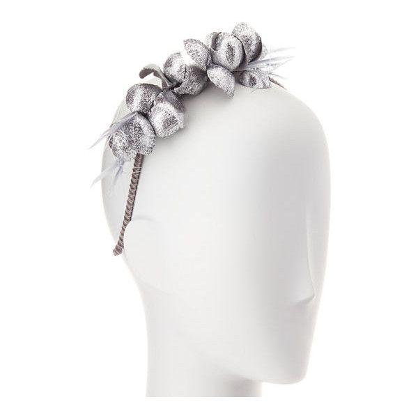 Gigi Burris Alchemia Silk Flower Headband ($375) ❤ liked on Polyvore featuring accessories, hair accessories, silver, twisted headwrap, flower headwrap, silk flower headband, head wrap headbands and hair band accessories