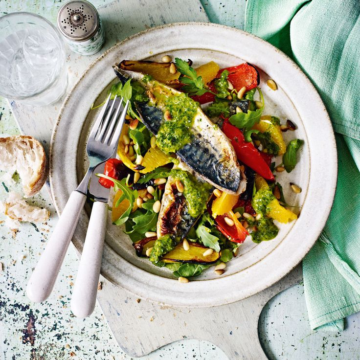 Omega 3-rich mackerel pairs perfectly with a fruity and peppery salad in this 30 minute recipe.