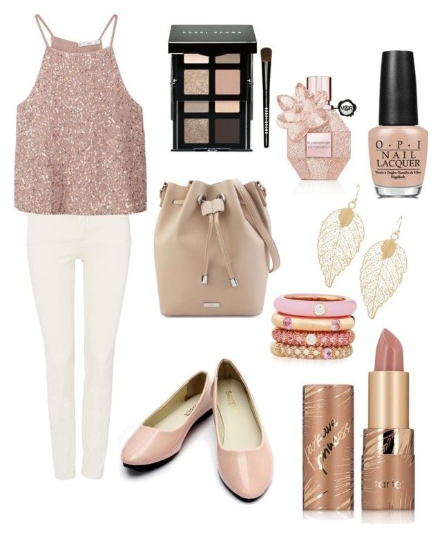 """""""Rose gold dream"""" by aamanigk on Polyvore featuring Oui, MANGO, Adolfo Courrier, tarte, Bobbi Brown Cosmetics, Viktor & Rolf and OPI"""