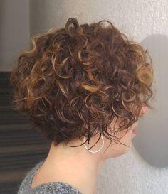 Short Curly Brunette Bob                                                       …