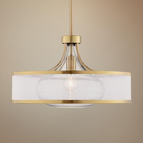 "Possini Euro Layne 19"" Wide Warm Antique Brass Pendant Light - #23N44 | Lamps Plus"