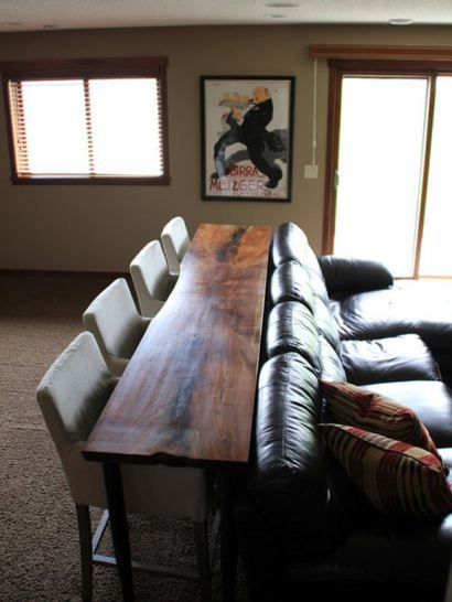 great idea for a games room where you watch sports - a sofa table with stools at it