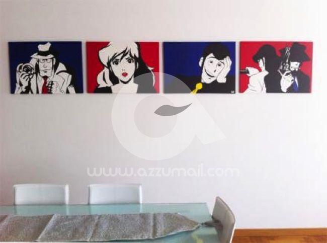 70-quadro-pop-art-popart-lupin-iii-terzo-rupan-sansei-lupin-the-third-dipinti-a-mano-vendo-cerco-compro-fijiko-margot-zenigata-jigen-goemon-azzumail