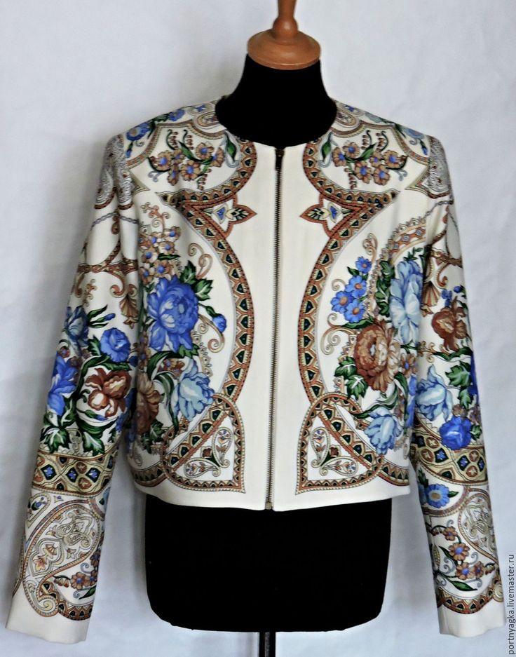 Купить Жакет Первая линия(из ППП) - комбинированный, орнамент, павловопосадский платок, жакет из платка, жакет