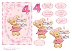 4th Birthday card with teddy carrying cupcakes   choice of family sentiments on Craftsuprint - View Now!