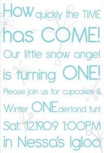 Winter ONEderland invitation wording