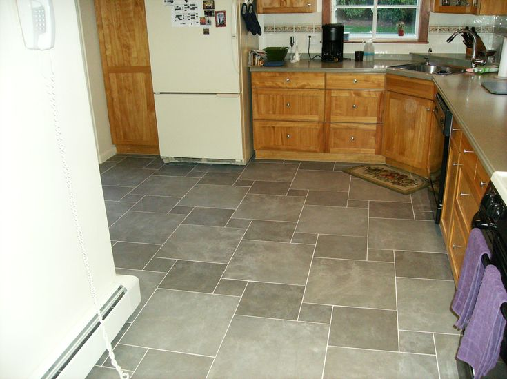Gray Ceramic Tile Kitchen Floor Designs