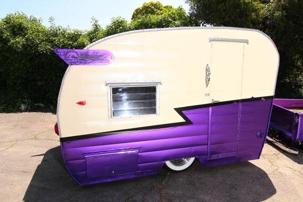 1958 Vintage Shasta Canned Ham Trailer | Purple. Get in my yard!