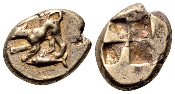 Mysia, Kyzikos EL Hemihekte. Circa 500-450 BC. Dog crouching to left, tail raised; tunny fish left below / Quadripartite incuse square