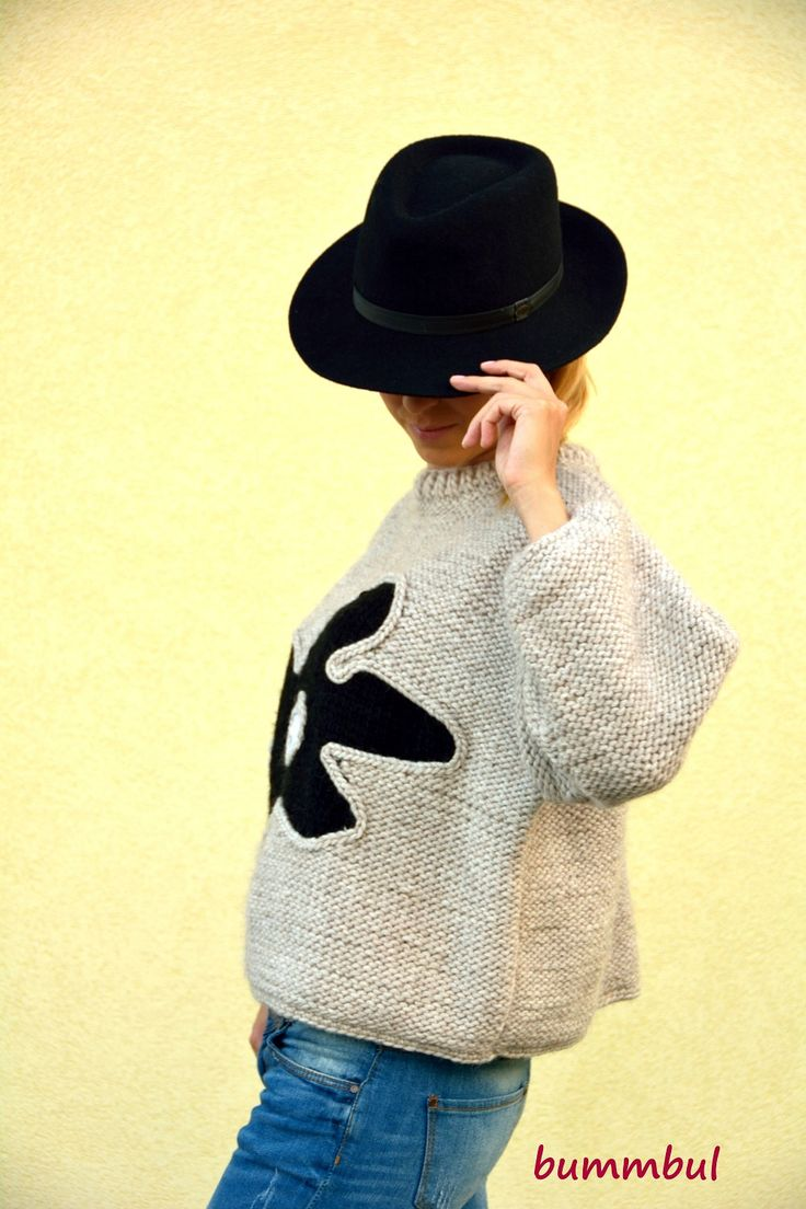 Gray sweater, hand knitted sweater with flower, M size ,3/4 sleeves,  womens clothing by Bummbul on Etsy